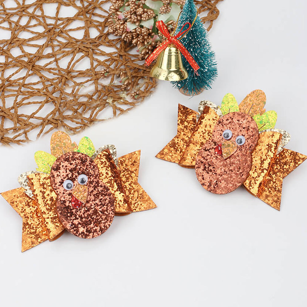 Thanksgiving Glitter Turkey Hair Clips