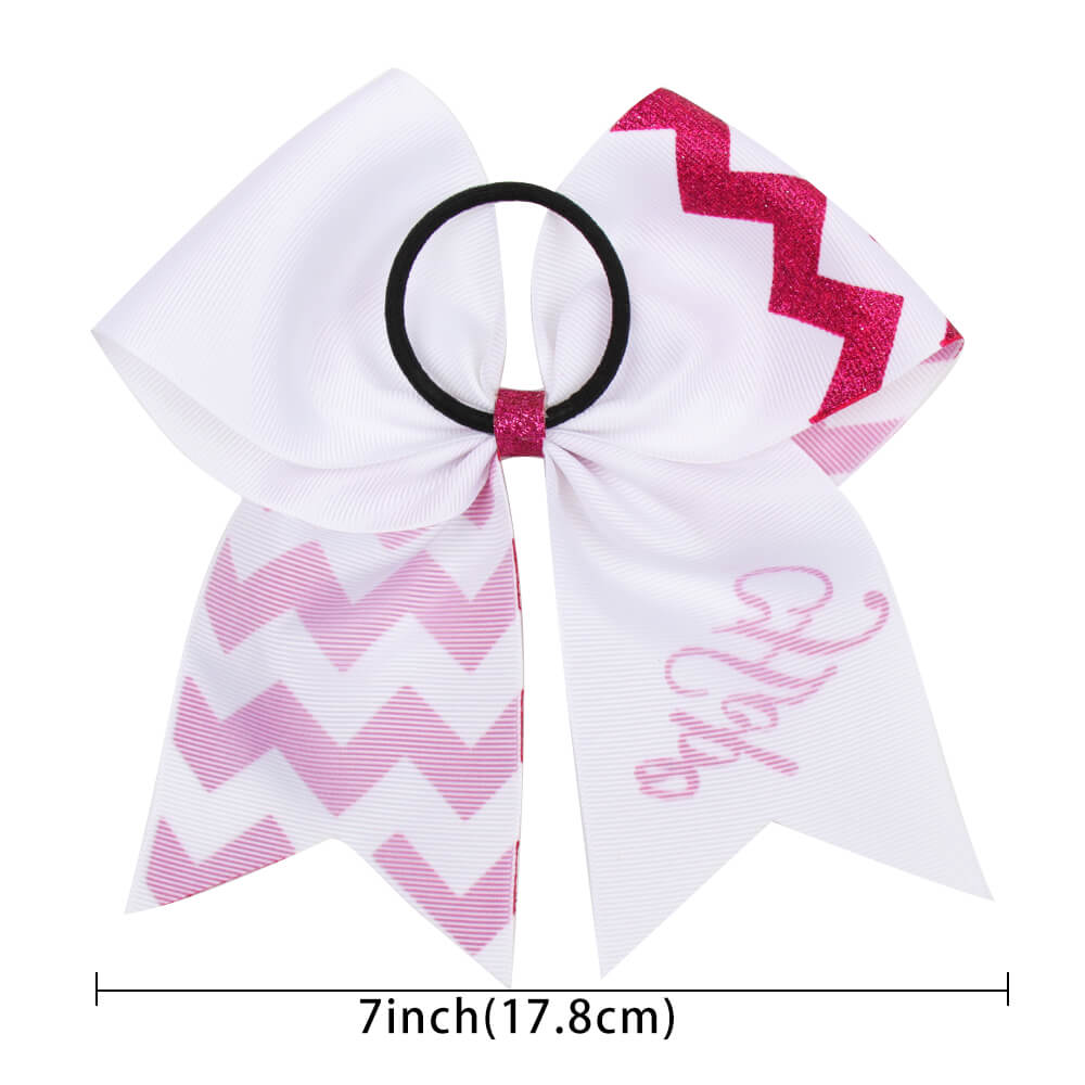 Breast Cancer Awareness Pink Glitter Cheer Bows
