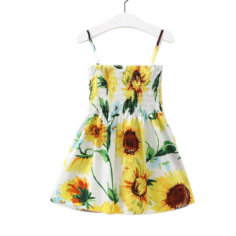 Princess Sleeveless Halter Sunflower Dress
