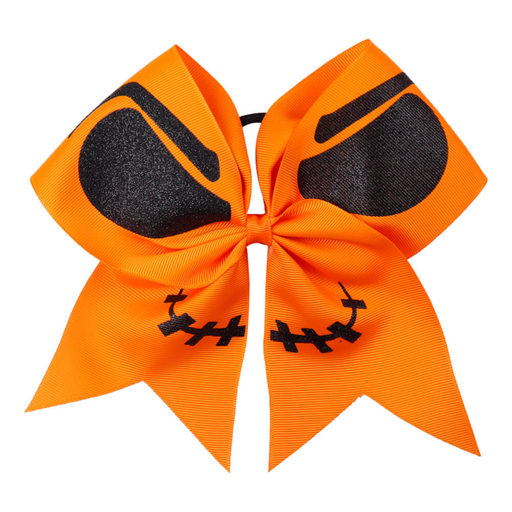 Orange Halloween Glitter Cheer Bows