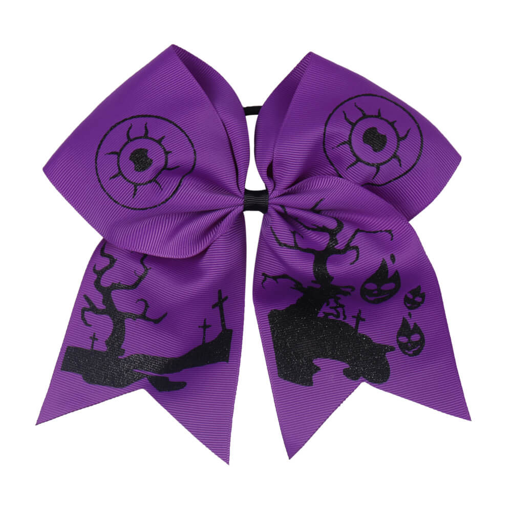 Purple Halloween Glitter Cheer Bows