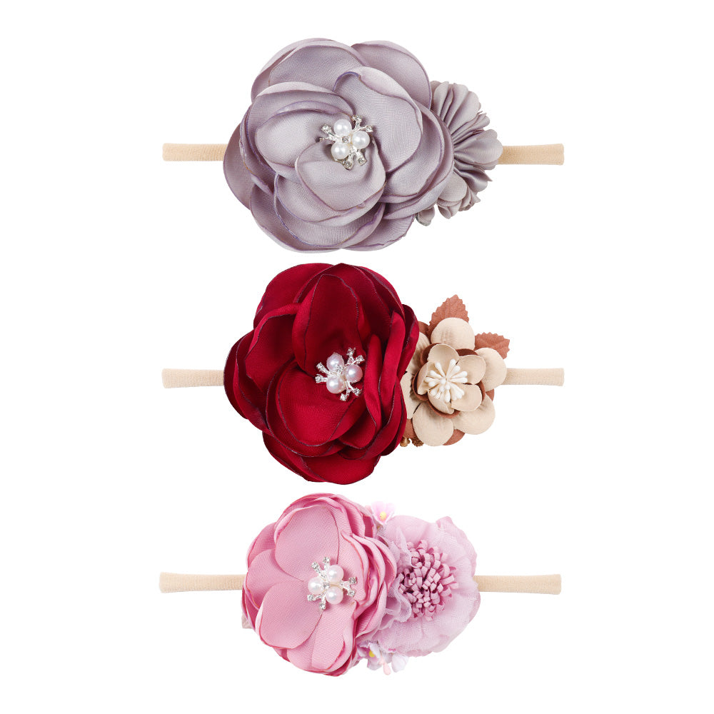 Baby Pearl Flower Nylon Headbands