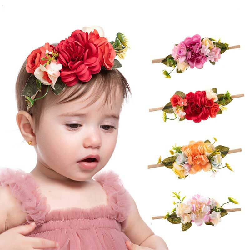 Fake Flowers Baby Nylon Headband