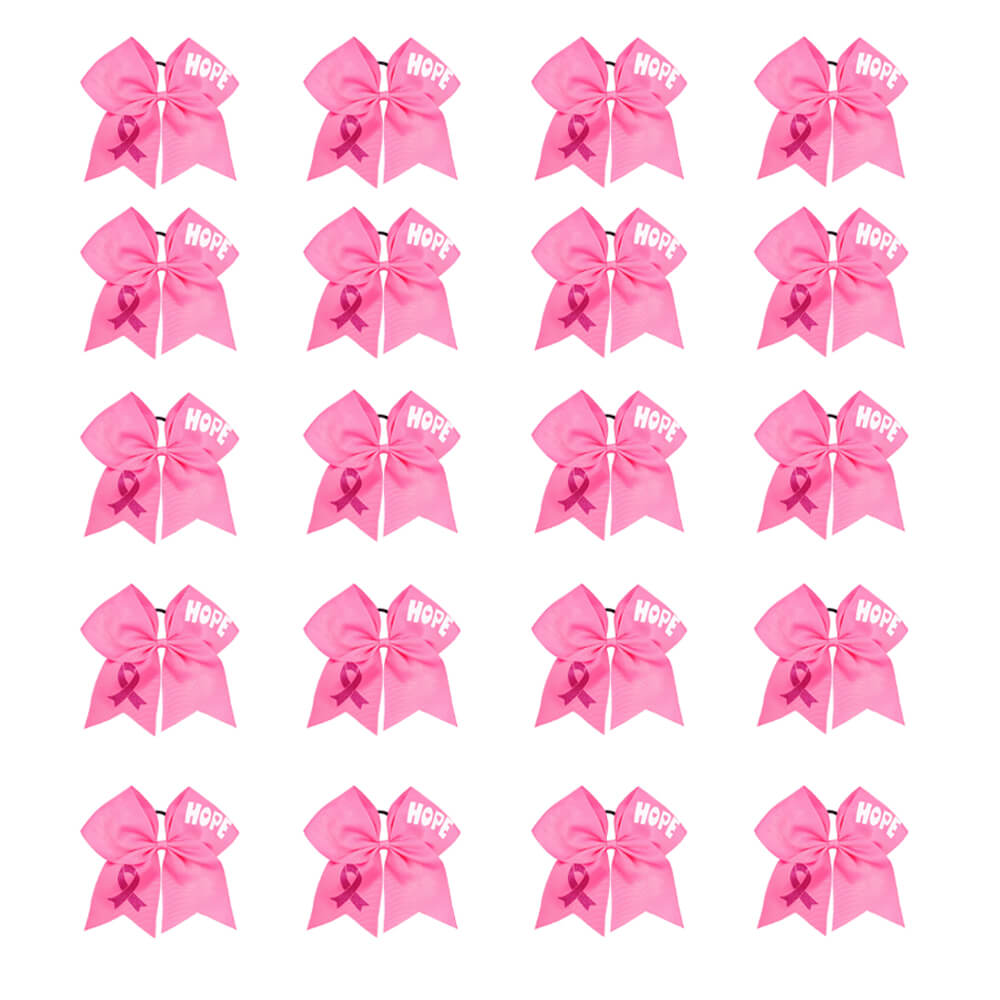 20pcs Large Breast Cancer Awareness Cheer Bows Wholesale