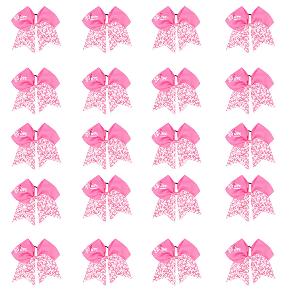 20pcs/pack Large Breast Cancer Awareness Cheer Bows Wholesale