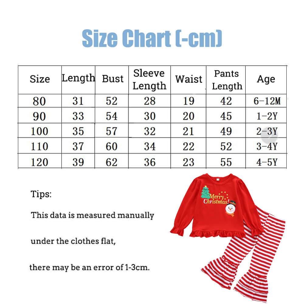 Christmas Snowman Girls Strips Cothing Set