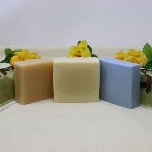 Picture shows three By the Sea Soap Shoppe Unscented Soap Bars. From left to right they are Natural Goat, Soft and Gentle, and Latherific