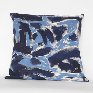 Blue Two Hue Hand-Painted Canvas Floor Cushion