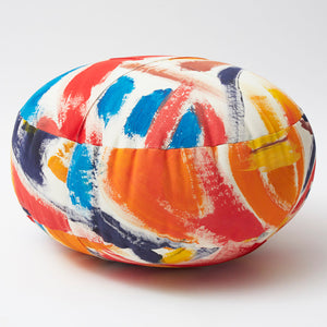 Small Hand-Painted Cotton Canvas Stuffed Ottoman Pouf