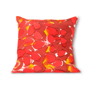 Hand-Painted Silk Charmeuse Red Scales Square Pillow