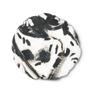 Black and White Hand-Painted Canvas Circle Pillow