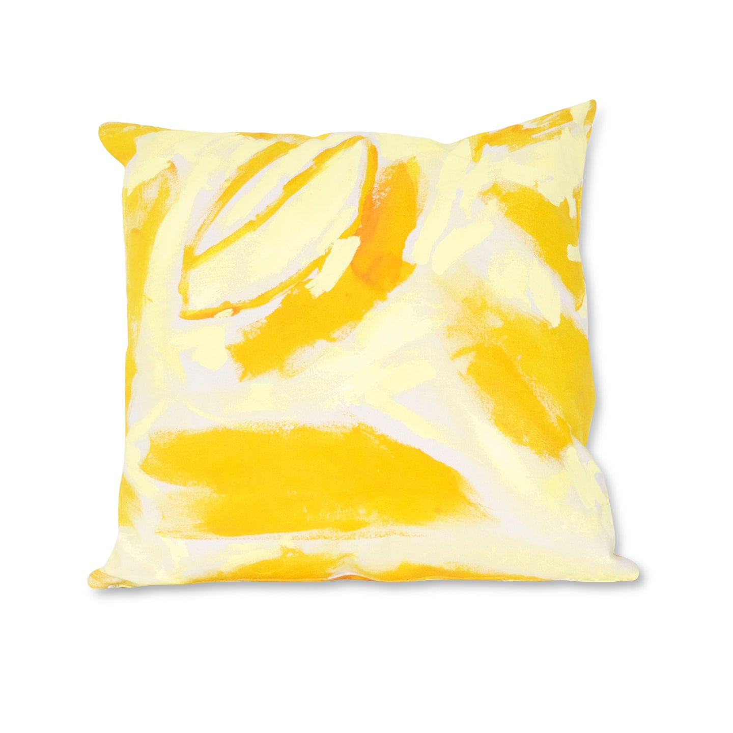 Yellow Two Hue Hand-Painted Canvas Square Pillow