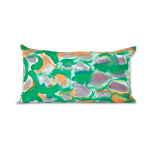 Hand-Painted Silk Charmeuse Green Scales Lumbar Pillow