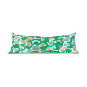 Hand-Painted Silk Charmeuse Green Scales Snake Pillow
