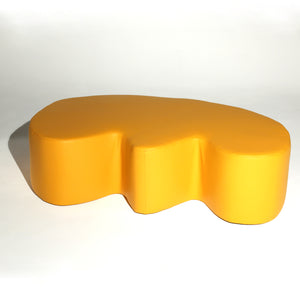 Yellow Leather 'E' Stuffed Bench
