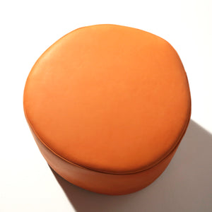 Orange Leather Circle Stuffed Pouf