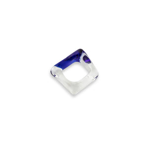 Square Clear and Cobalt Ring