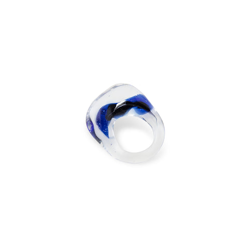 Watercolor Clear, Black, Cobalt Ring