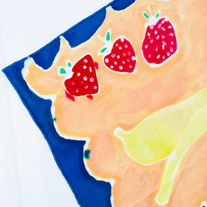 Hand-Painted Fruity Scarf