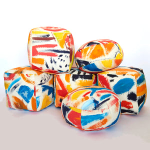 Hand-Painted Cotton Canvas Stuffed Cube Pouf