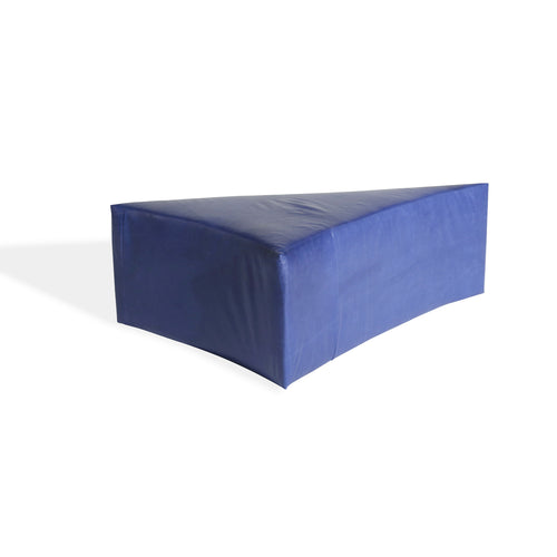 Royal Blue Leather Triangle Ottoman