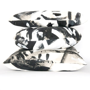 Black and White Two Hue Hand-Painted Canvas Square Pillow