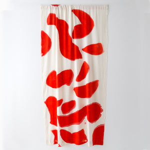Silk Noil Single Hue Hand-Painted Amoeba Curtains Fabric Yardage, Red