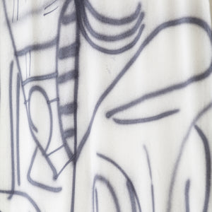 Silk Noil Hand-Painted Gray Lines Curtain Fabric Yardage