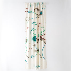 Silk Noil Hand-Painted Brown, Green and Blue Lines Curtain Fabric Yardage