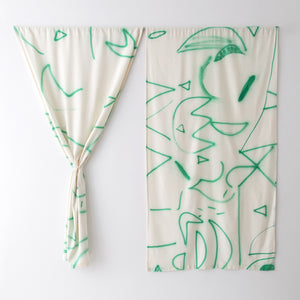 Silk Noil Hand-Painted Green Lines Curtain Fabric Yardage