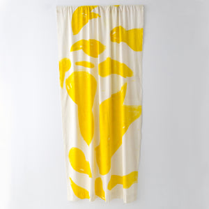 Silk Noil Single Hue Hand-Painted Amoeba Curtains Fabric Yardage, Yellow