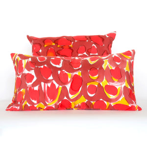 Hand-Painted Silk Charmeuse Red Scales Lumbar Pillow