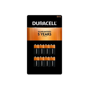 Duracell Alkaline 9 Volt Batteries, 8 ct