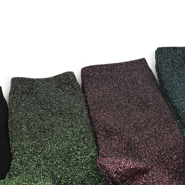 (5 Pairs) Women Glitter Crew Socks Sexy Shimmer Shine Sparkle Fashion XF15 - intypesocks