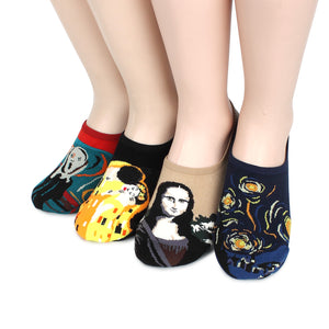 (4 Pairs) Famous Painting Masterpiece Printing No show Socks with DA14 - intypesocks