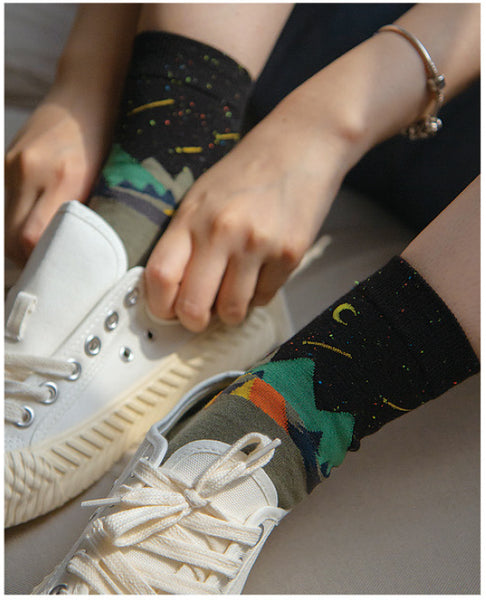 (5 Pairs) Novelty Nature Camping Printing Cotton Crew Socks AL15 - intypesocks