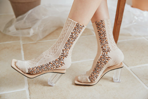 (4 Pairs) Earnest flower crew fashion Socks DK14