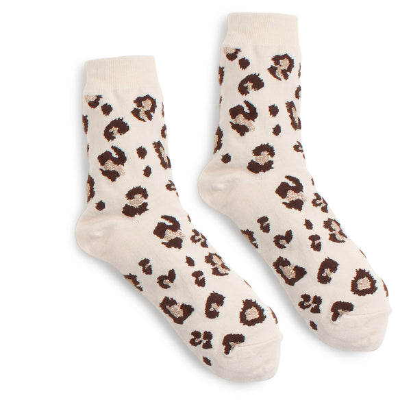 Leopard Cotton Crew Socks (4 Pairs) HG14 - intypesocks