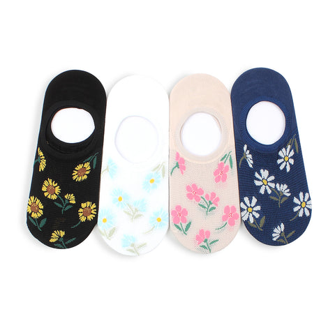 Flower printing women loafer socks mesh cool no show socks LI14