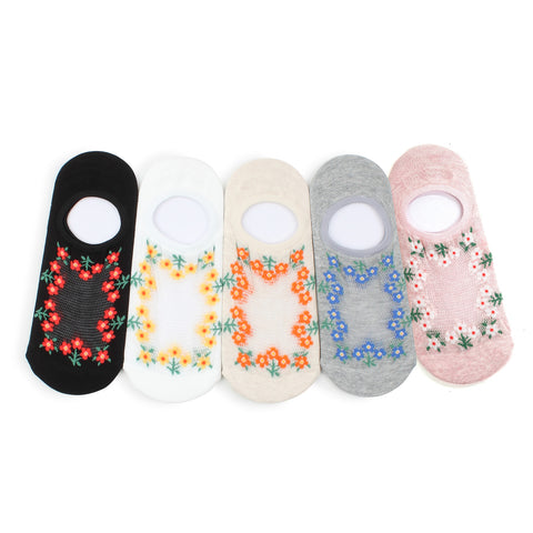 Flower farm netting thread no show socks women non-slip LI59
