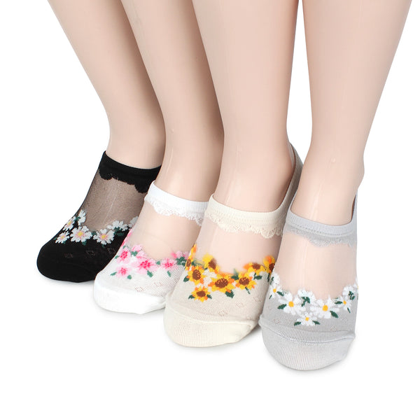 Flower garden see through no show socks women mesh summer socks LN14
