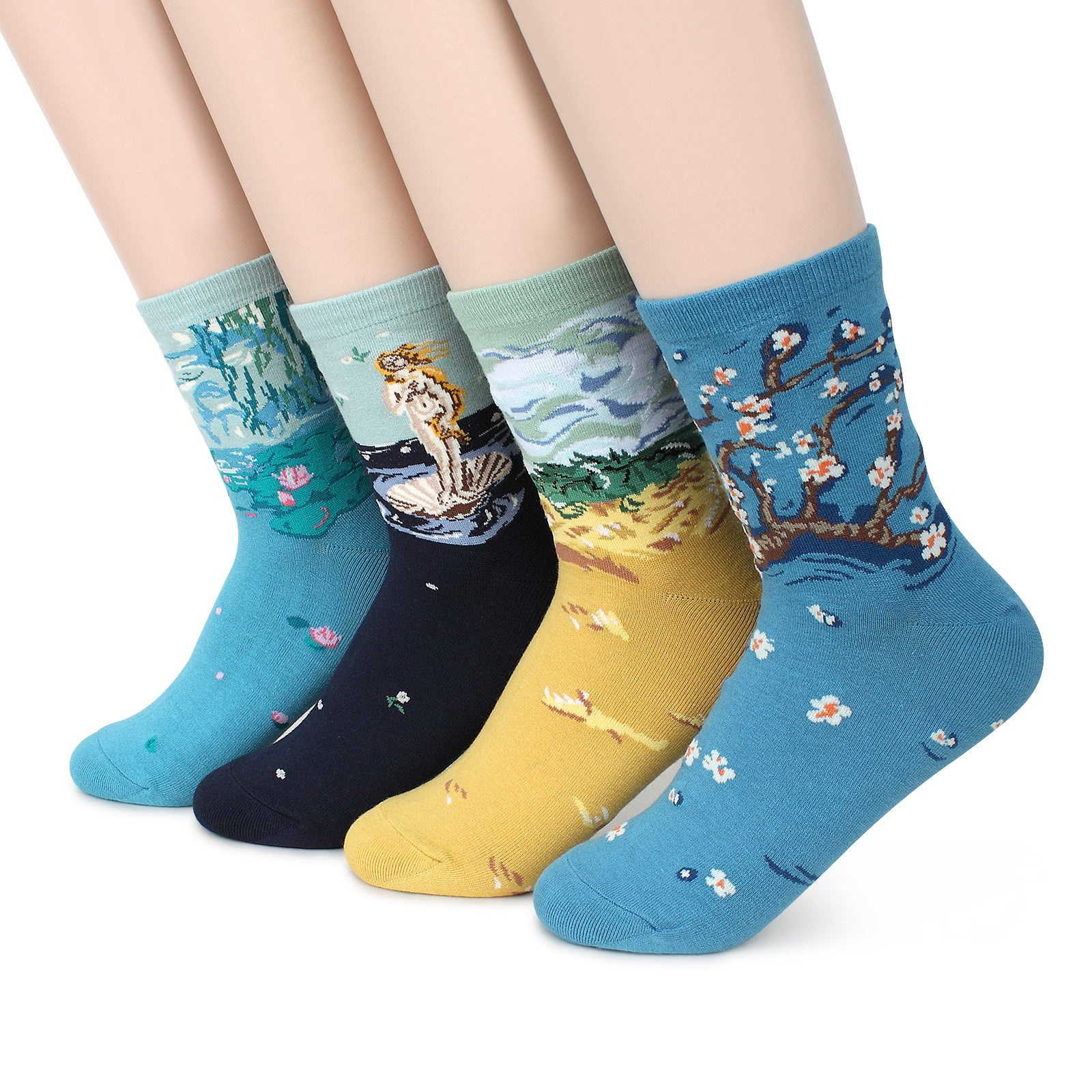 Art Patterned Casual Crew Socks (4 pairs) Women Kids Famous Painting Collection Venus AE14 - intypesocks