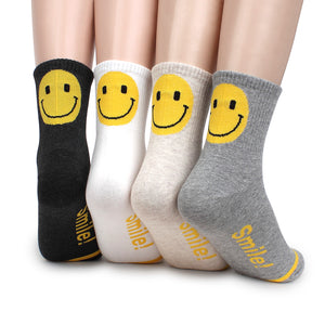 Smile Crew Socks (4 Colors) Girls Happy Smiling Patch Casual Women AR14 - intypesocks