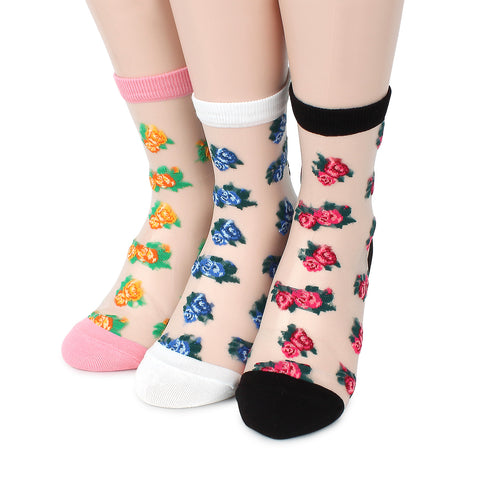 Ashley see through paisley women socks (3 Pairs) BA46 - intypesocks