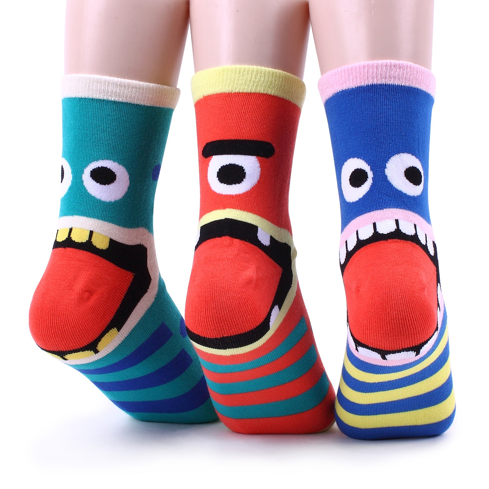Women's fashion casual funny crazy socks collection (monster tongues 4pairs) CD14 - intypesocks