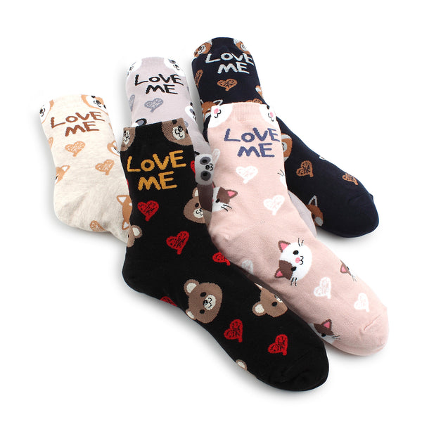 I Love Cats Animal Pattern Socks (Crew 5 pairs) EG15 - intypesocks