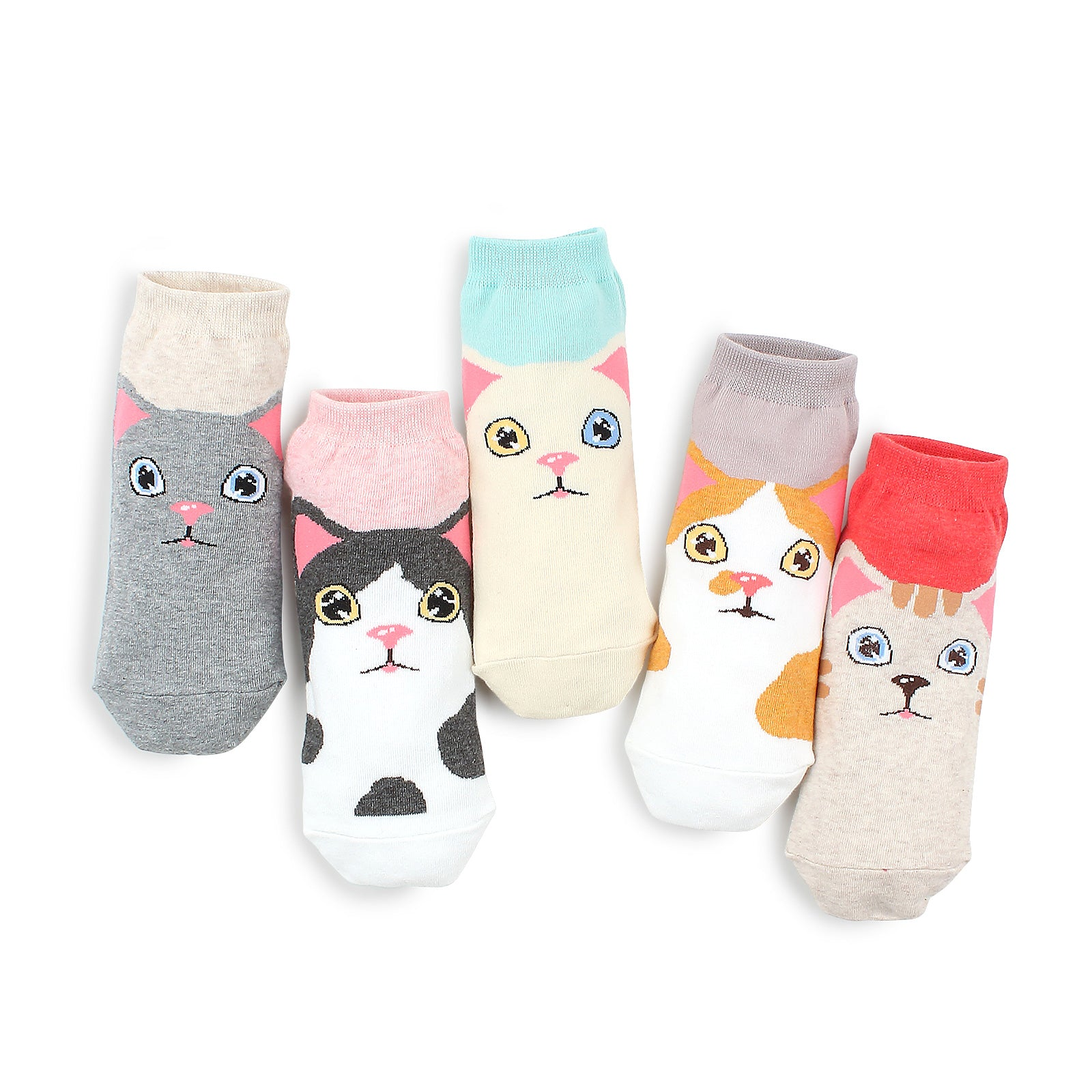 Odd eye kitten tabby cat socks (5 pairs) IR15 - intypesocks