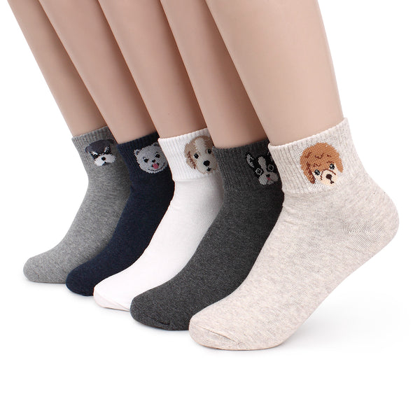 Women's Puppy Face Socks (5 pairs) JN15 - intypesocks