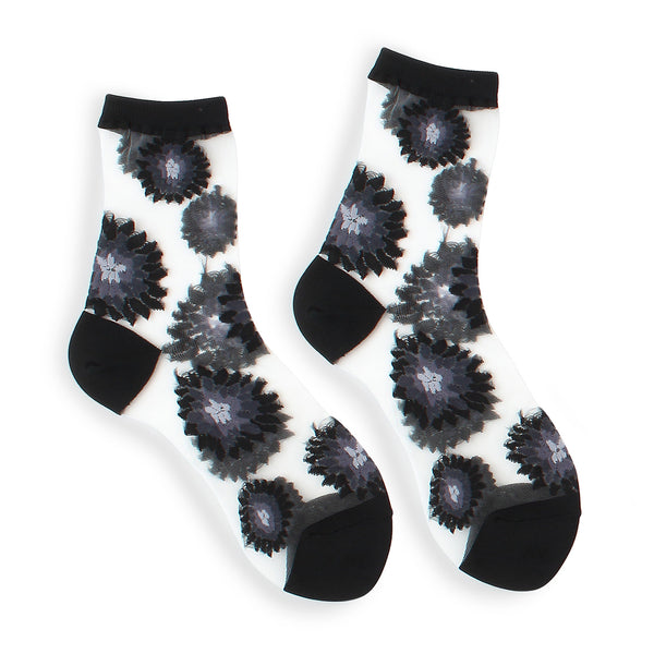 Sunflower see through women loafer shoes socks (5 Pairs) Ki15 - intypesocks