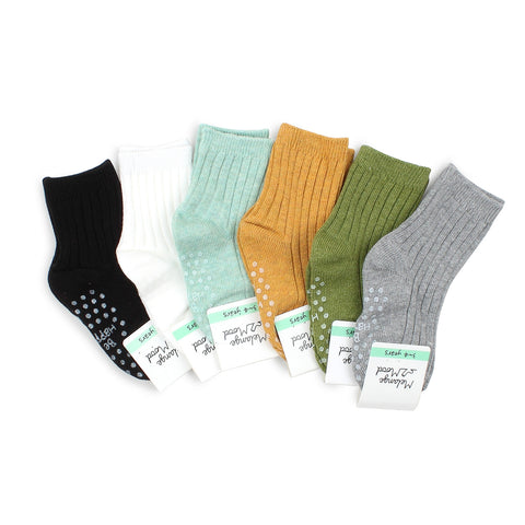 Kids Cotton Non Slip Basic Color Socks B16
